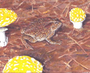 fly agaric painting, with a toad